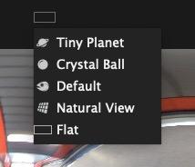Insta360 Studio for ONE Xの左上プルダウンで全天球画像の種類を選択