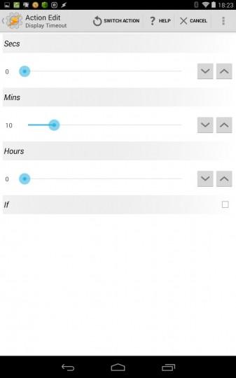 taskerの設定画面 ディスプレイのタイムアウト時間を設定