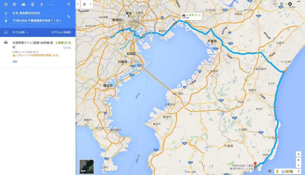 世田谷から千葉 一の宮以南へのアクセス、東金経由のルート 勝浦まで