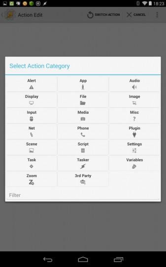 taskerの設定画面 アクションのカテゴリ