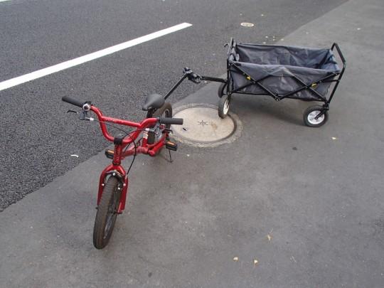 コストコの折りたたみワゴンをMongooseのProgram16 BMXで牽引1