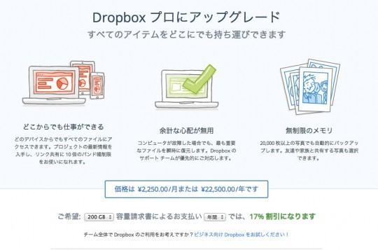 Dropboxプロへのアップグレード費用