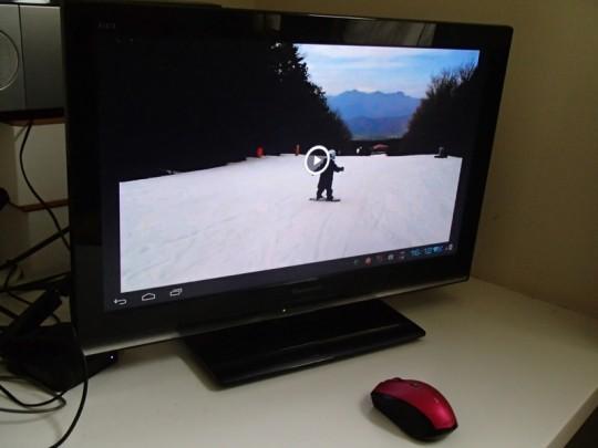 スキー場で携帯で撮影したビデオをそのままテレビで再生1
