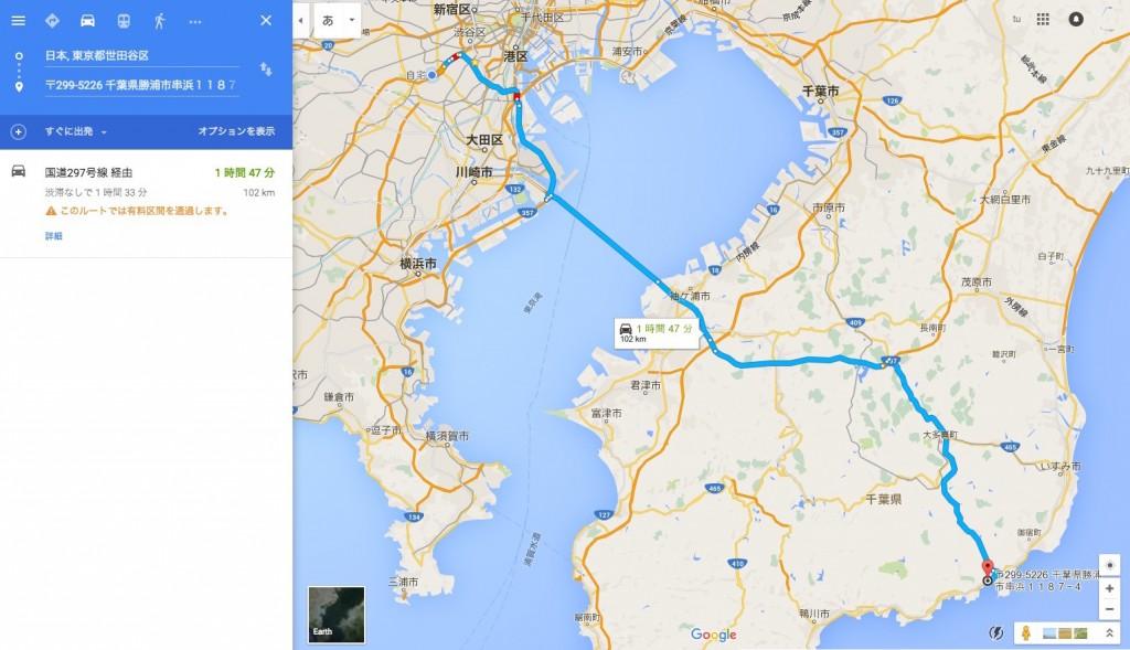 世田谷から千葉 一の宮以南へのアクセス、圏央道経由のルート 勝浦まで