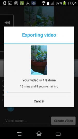 AndroidアプリLapse Itで撮影した動画をレンダリング中