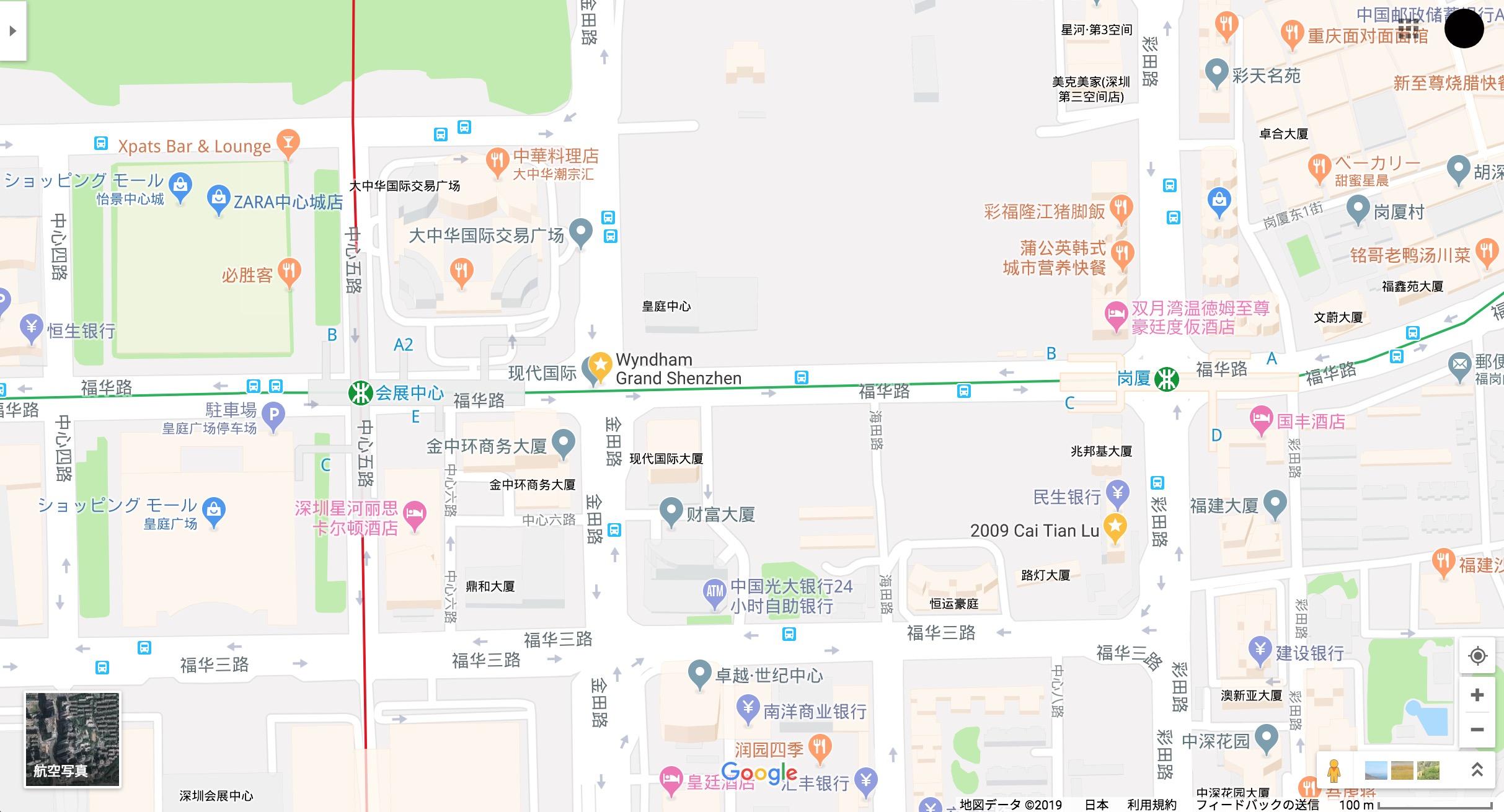 GoogleMapにおける中国深セン Wyndham Grand Hotelの位置あやまり