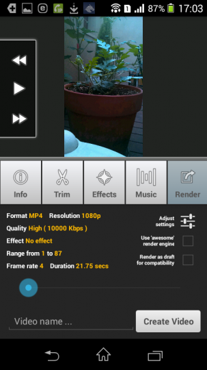 AndroidアプリLapse Itで撮影した動画をレンダリング3各種設定