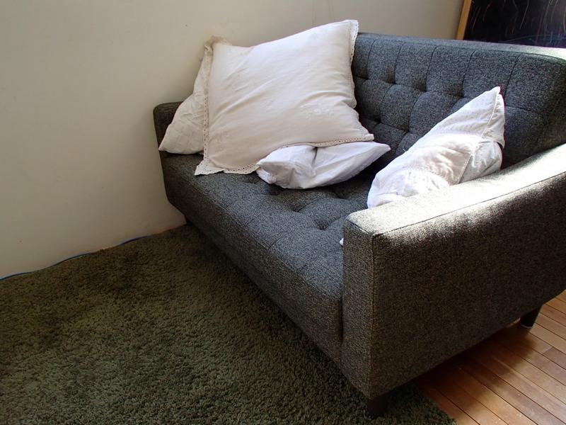 モスグリーンのソファとカーペット