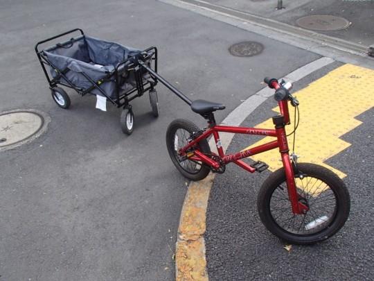 コストコの折りたたみワゴンをMongooseのProgram16 BMXで牽引3