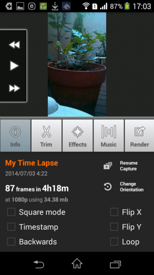 AndroidアプリLapse Itで撮影した動画をレンダリング2