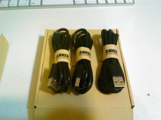 ANKERのMicroUSBケーブル3本セット