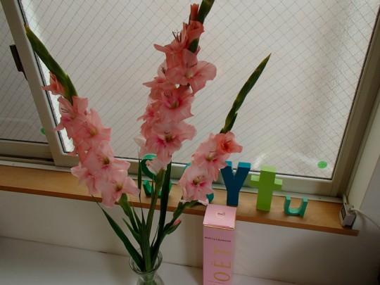 ピンクの花とグリーン
