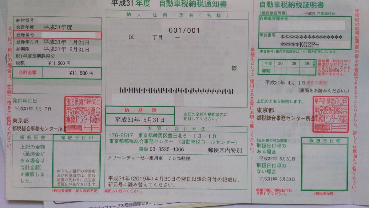 CX-8 XD2.2 自動車税納税通知書 クリーンディーゼルで75%減税11,500円