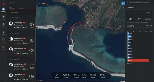 RIP CURL SEARCH GPSの機能 地図にマッピング